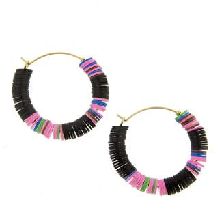 ALLTHEMUST Black and Multi-Color Heishi Bead Hoop Earrings - Yellow Gold
