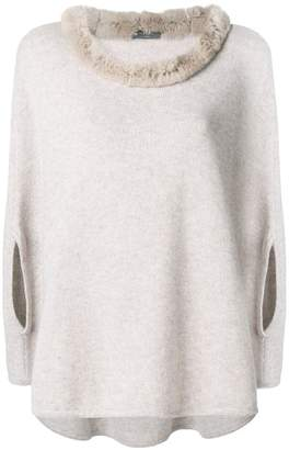 N.Peal fur collared cashmere poncho