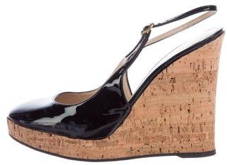 Saint Laurent Yves Saint Laurent Patent Leather Slingback Wedges