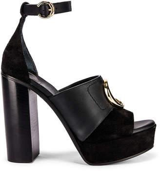Chloé C Ankle Strap Platforms in Black | FWRD