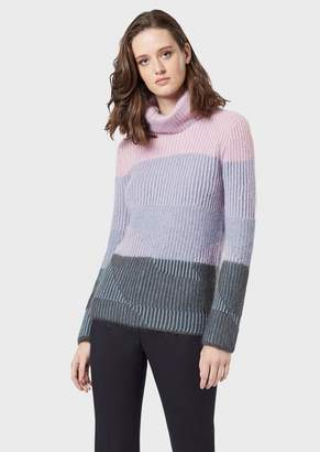 Emporio Armani Maxi Rollneck In Ribbed Vanise Mohair Blend
