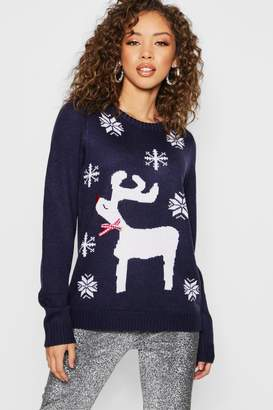 boohoo Christmas Jacquard Jumper With Woven Bow