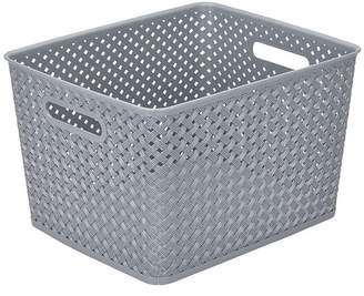 KENNEDY INTERNATIONAL Resin Wicker Storage Tote Grey-Large 13.75 X 11.50 X 8.75- Basket Weave