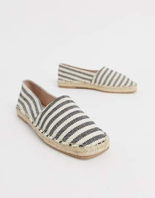 Qupid striped square toe espadrilles