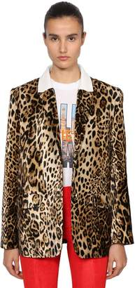 Filles a papa Leopard Print Velvet Boyfriend Blazer