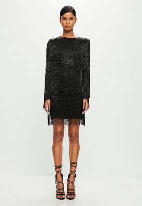 Missguided Black Long Sleeve Sequin Tassel Mini Dress