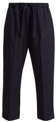 Chimala Cropped Wool Twill Trousers - Womens - Navy
