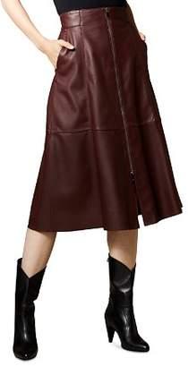 Karen Millen Zip-Front Leather Midi Skirt