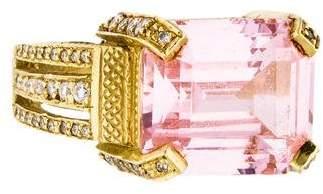Judith Ripka 18K Rose Quartz & Diamond Cocktail Ring