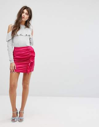Fashion Union Mini Skirt With Ruffle Gathers In Luxe Fabric