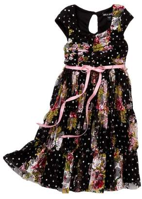 AVA AND YELLY Printed Lace Tiered Cap Sleeve Dress (Little Girls)