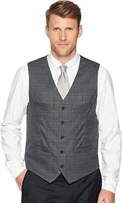Perry Ellis Men's Slim Fit Washable Plaid Suit Vest