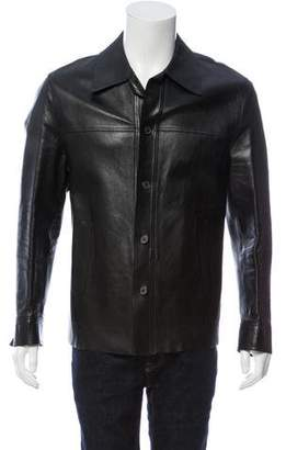 Gucci Leather Button-Up Jacket