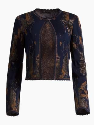 St. John Leafed Copper Jacquard Knit Jacket