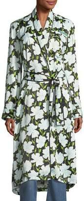 Off-White Floral-Print Pajama Robe Coat