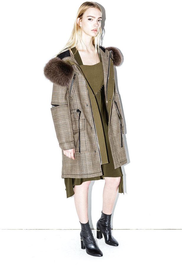 3.1 Phillip LimGlen plaid fur-hood coat