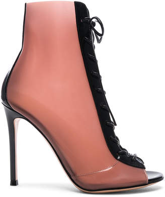 Gianvito Rossi Patent & Latex Ree Lace Up Ankle Boots