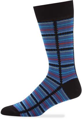Jared Lang Men's Multicolor Striped Cotton Socks, Black
