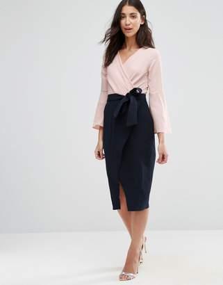 Closet London Closet Tie Front Split Contrast Long Sleeve Dress $53 thestylecure.com