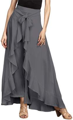 MiN New York Qiao Women High Waist Tie Front Chiffon Ruffle Wide Leg Long Palazzo Pants Skirt