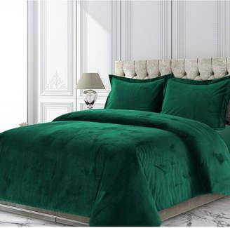 Tribeca Living Venice Velvet Oversized Solid King Duvet Cover Set Bedding