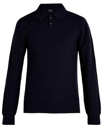 A.P.C. Guitry Wool Blend Long Sleeved Polo Shirt - Mens - Navy