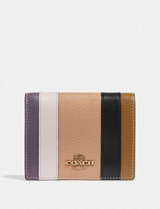 Coach Small Snap Wallet With Patchwork Stripes