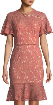 Cooper St Monaca Short-Sleeve Lace Illusion Dress