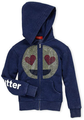 Butter Shoes Girls 7-16) Navy Studded Smiley Emoji Hoodie
