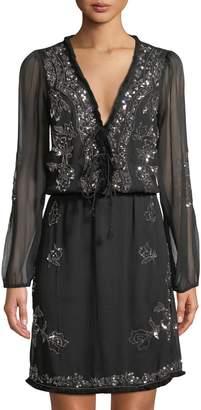 Catherine Malandrino Sequined Long-Sleeve Lace-Up Dress