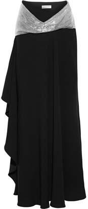 Chain-embellished Asymmetric Crepe Maxi Skirt - Black