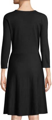 Neiman Marcus Scoop-Neck 3/4-Sleeve Sweater Dress w/ Embellished Mesh Yoke