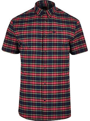 River Island Mens Red check wasp embroideRed short sleeve shirt