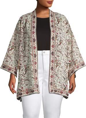 Max Studio Plus Printed Open-Front Kimono