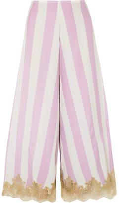 Rosamosario - Wallah, Let's Stripes Lace-trimmed Silk Pajama Pants - Lilac