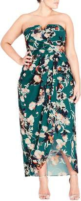 City Chic Emerald Bloom Strapless Maxi Dress