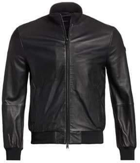 Emporio Armani Men's Leather Bomber Jacket - Black - Size 48 (38)