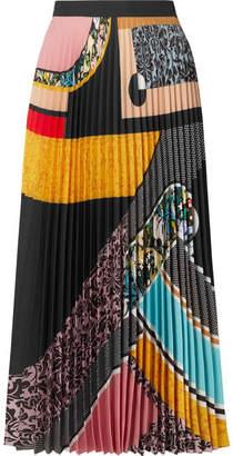 Mary Katrantzou Uni Pleated Printed Crepe De Chine Midi Skirt - Yellow