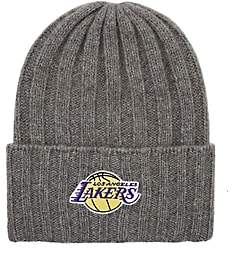 The Elder Statesman X NBA X NBA MEN'S LOS ANGELES LAKERS-LOGO SHORT BUNNY ECHO HAT-LIGHT GRAY