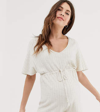 Asos DESIGN Maternity lounge ribbed playsuit