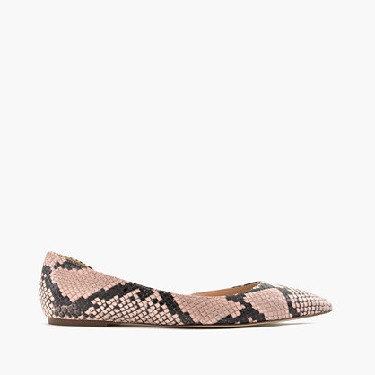 J.Crew Audrey flats in snakeskin-printed leather