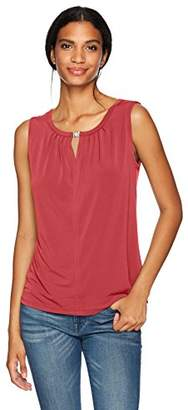 Nine West Women's Solid Ity Blouse with Keyhole