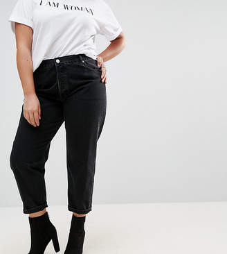 Asos DESIGN Curve Florence authentic straight leg jeans in washed black
