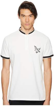 The Kooples Polo Shirt with Stand-Up Collar and Cuba Map Embroidery On Back Men's T Shirt