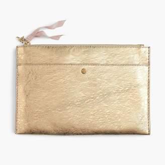 J.Crew Large pouch in metallic Italian leather
