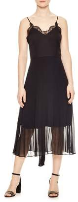 Sandro Pleated Chiffon Overlay Dress
