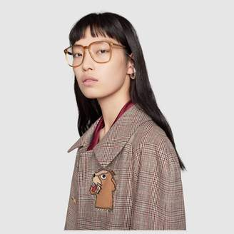 Gucci Square-frame acetate glasses