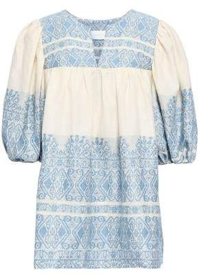 Zimmermann Embroidered Cotton And Linen-blend Top