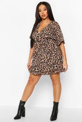 boohoo Plus Leopard Ruffle Wrap Dress