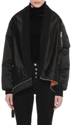 Unravel Long-Sleeve Nylon Bomber Cape Coat